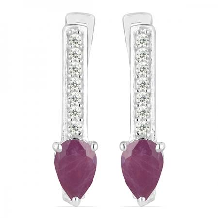 Cercei argint Beatrix, 925, cu rubin si zirconiu alb - EVA0033