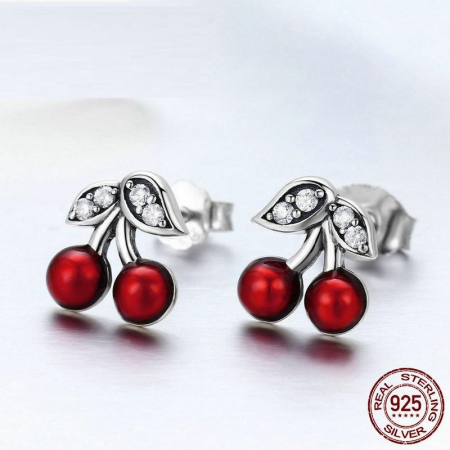 Cercei argint cirese rosii [2]