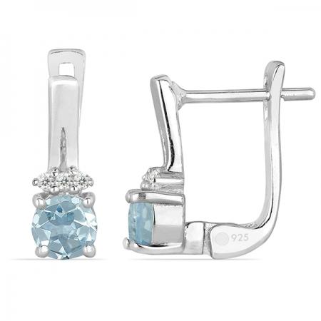 Cercei argint Clara, 925, cu topaz Sky Blue si zirconiu alb - EVA00461