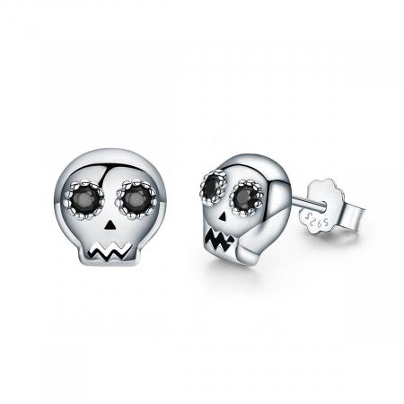Cercei argint cranii cu zirconii