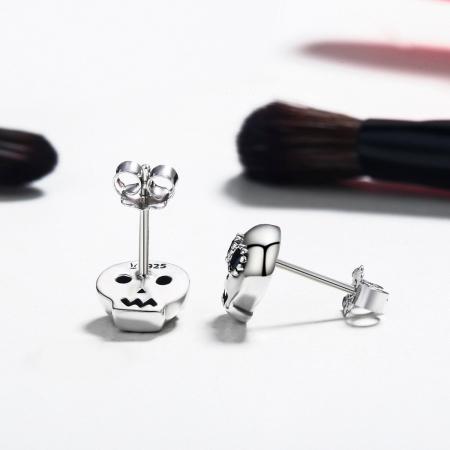 Cercei argint cranii cu zirconii negre [2]
