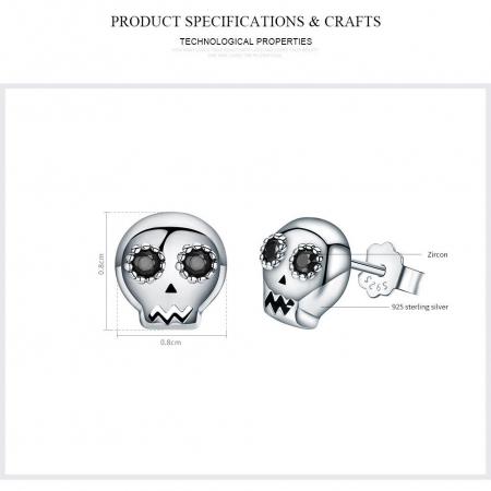Cercei argint cranii cu zirconii negre [5]