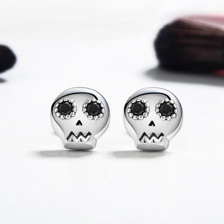 Cercei argint cranii cu zirconii negre [1]