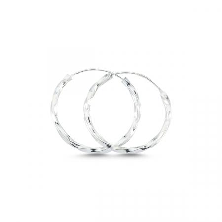 Cercei argint creole rasucite diametru 25 mm - ETU0157