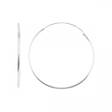 Cercei argint rotunzi creole, simpli 35 mm