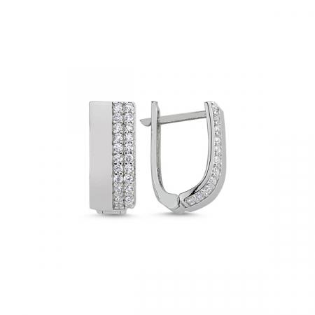 Cercei argint cu 2 randuri de zirconii albe placat cu rodiu - ETU0112