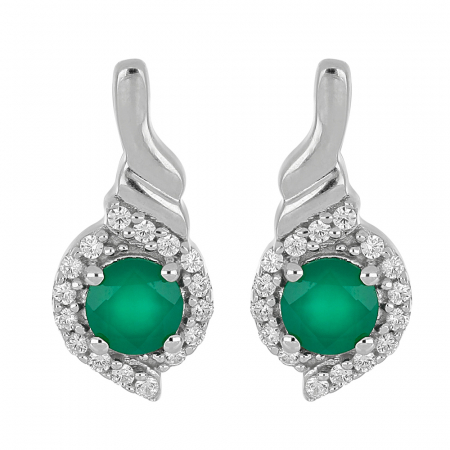 Cercei argint cu agata verde si zirconii - EVA0054
