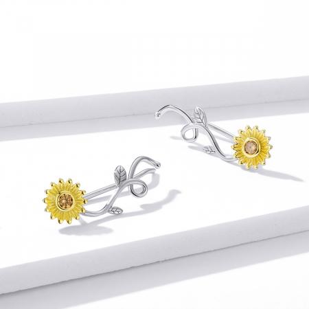 Cercei argint cu floarea soarelui si zirconiu [6]