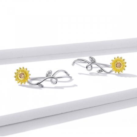 Cercei argint cu floarea soarelui si zirconiu [1]