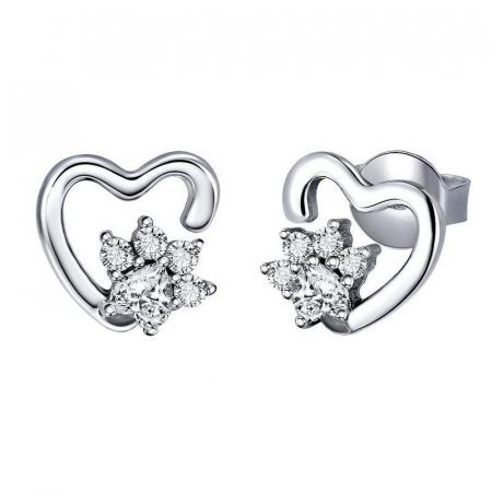 Cercei argint cu inimioare si flori de cristal