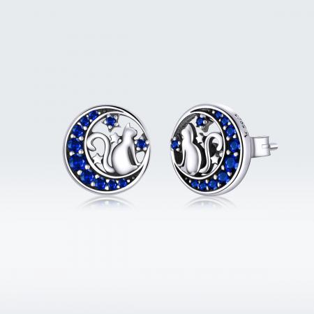 Cercei argint cu luna, pisicute si zirconii albastre7