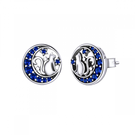 Cercei argint cu luna, pisicute si zirconii albastre