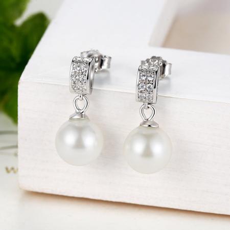 Cercei argint cu perle naturale si zirconii albe2