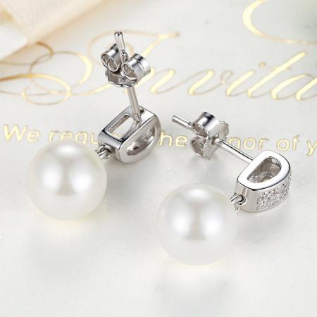Cercei argint cu perle naturale si zirconii albe3