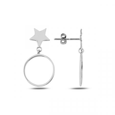Cercei argint cu steluta si cerc - ETU0189