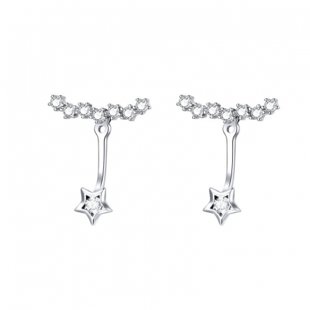 Cercei argint cu steluta si cristale