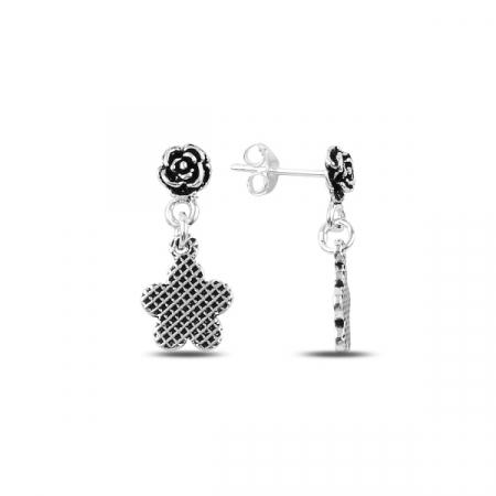Cercei argint cu trandafiri si stelute - ETU0143