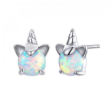 Cercei argint cu unicorn si opal
