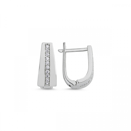 Cercei argint cu zirconii albe placat cu rodiu - ETU0113