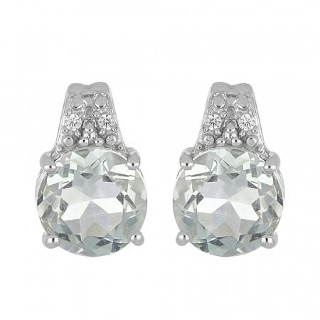 Cercei argint eleganti cu ametist verde - EVA0072