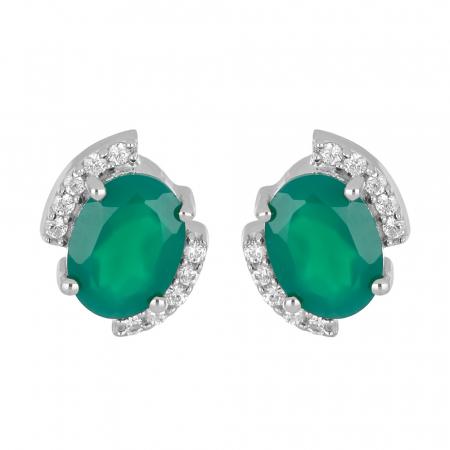 Cercei argint eleganti cu Onix Verde si zirconiu - EVA0058