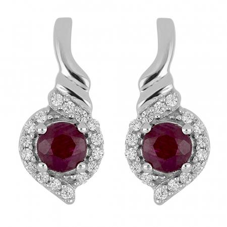 Cercei argint eleganti cu rubin si zirconii - EVA0055