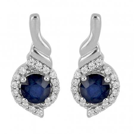 Cercei argint eleganti cu safir si zirconii - EVA0053