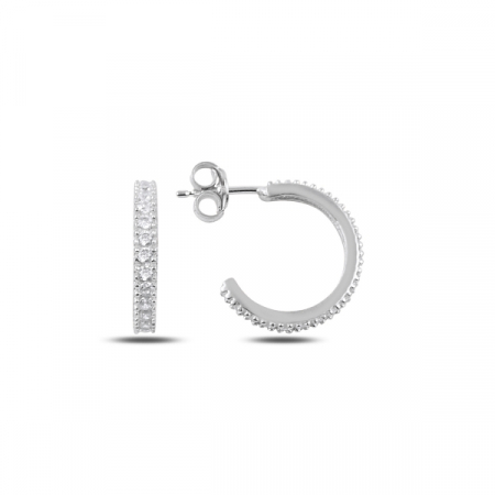 Cercei argint Eternity cu zirconii albe placat cu rodiu - ETU0153