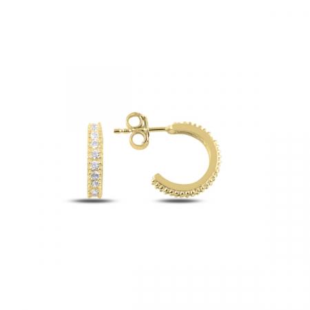 Cercei argint Eternity placati cu aur galben 8,5 mm, cu zirconii albe - ETU0154