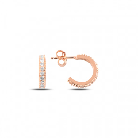 Cercei argint Eternity placati cu aur roz 8,5 mm, cu zirconii albe - ETU0155