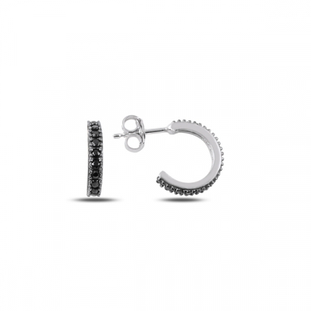 Cercei argint Eternity placati cu rodiu 8,5 mm, cu zirconii negre - ETU0156
