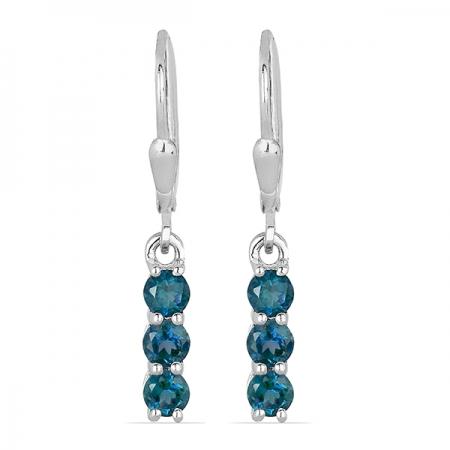 Cercei argint Fanny, 925, cu topaz albastru London - EVA0029