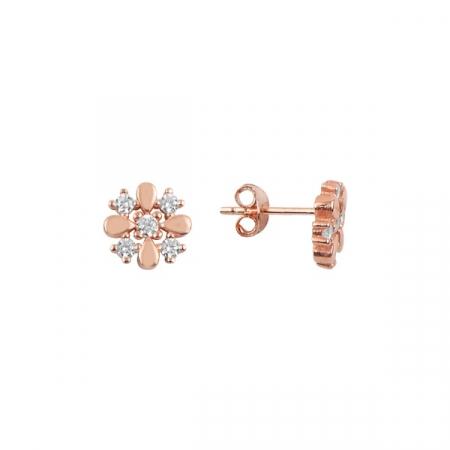 Cercei argint floare, placati cu aur roz