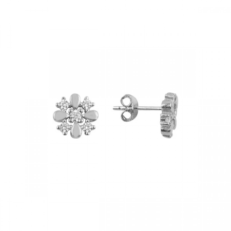 Cercei argint floare, placati cu rodiu