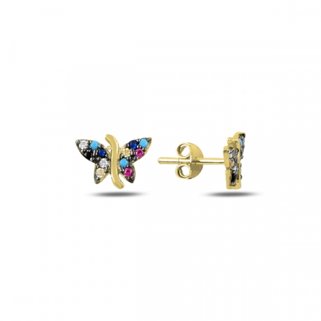 Cercei argint fluturas cu zirconii multicolore, placati cu aur galben - ETU0193