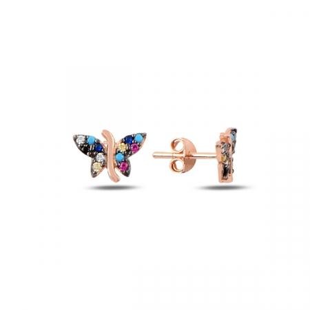 Cercei argint fluturas cu zirconii multicolore, placati cu aur roz - ETU0192
