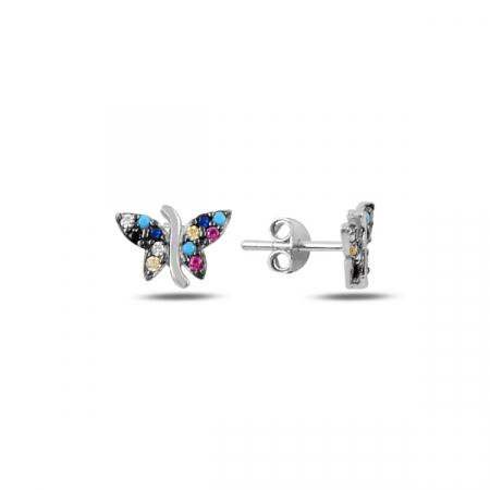 Cercei argint fluturas cu zirconii multicolore, placati cu rodiu - ETU0194
