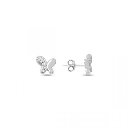 Cercei argint fluturasi cu zirconii albe - ETU0186