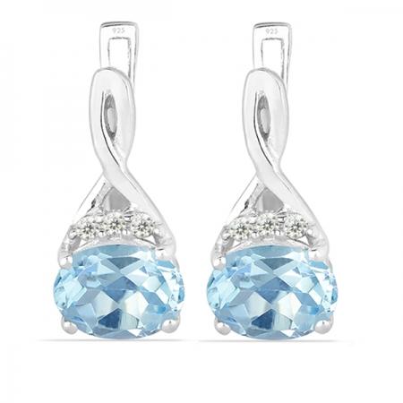 Cercei argint Grace, 925, cu topaz albastru si zirconiu alb - EVA0011