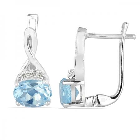 Cercei argint Grace, 925, cu topaz albastru si zirconiu alb - EVA00111