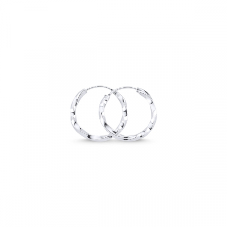 Cercei argint in forma de cerc răsucit de 14 mm placati cu rodiu