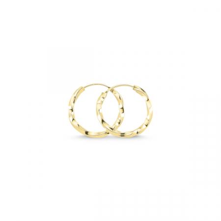 Cercei argint in forma de cerc răsucit de 16 mm placati cu aur