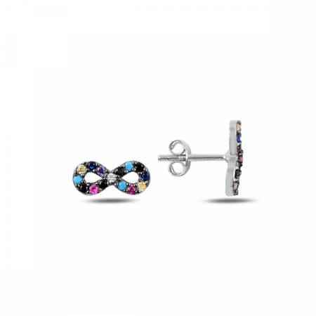 Cercei argint infinit cu zirconii multicolore, placati cu rodiu - ETU0191