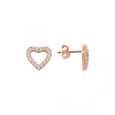 Cercei argint inima cu cristale, placati cu aur roz