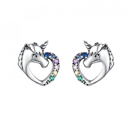 Cercei argint inima de Unicorn