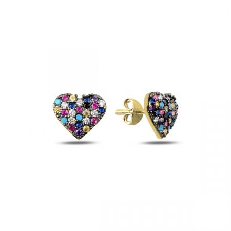 Cercei argint inimioara cu zirconii multicolore, placati cu aur galben - ETU0196