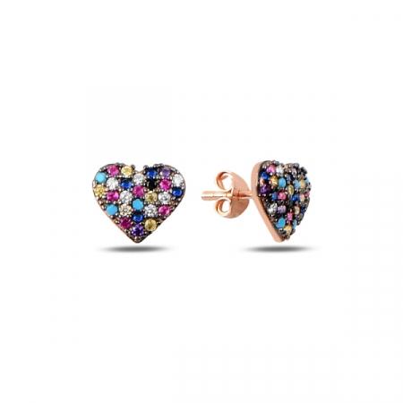 Cercei argint inimioara cu zirconii multicolore, placati cu aur roz - ETU0195
