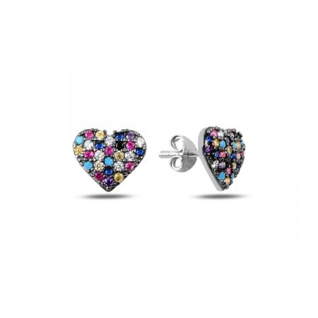 Cercei argint inimioara cu zirconii multicolore, placati cu rodiu - ETU0197