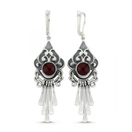 Cercei argint lungi cu agate rosii, handmade