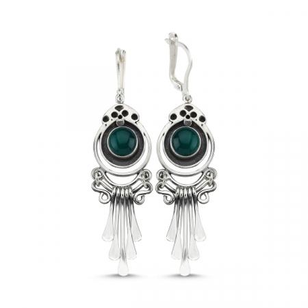 Cercei argint lungi cu agate verzi, handmade